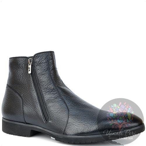 Ботинки Pakerson кожаные черные на меху с двумя молниями, фото