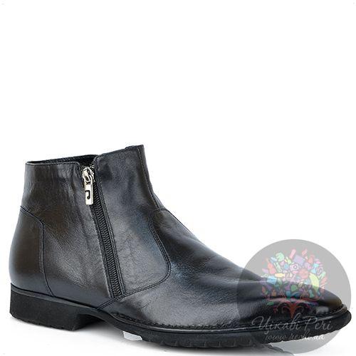 Ботинки Pakerson кожаные черные с термоутеплителем на двух молниях, фото