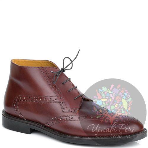 Ботинки Pakerson кожаные бордово-коричневые осенние на шнуровке, фото