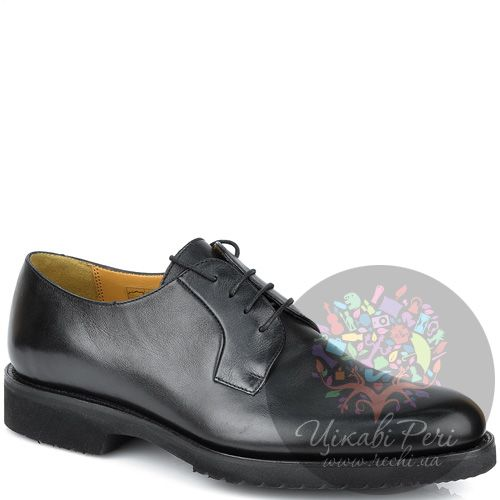 Туфли-дерби Pakerson кожаные черные на утолщенной подошве, фото