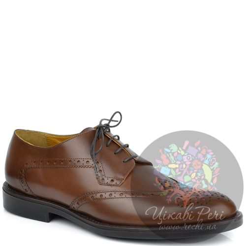 Туфли-дерби Pakerson коричневые кожаные с перфорированным декором, фото