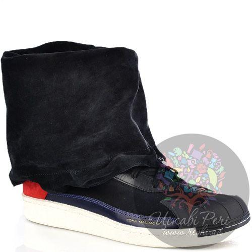 Кеды-ботинки Y3 by Yohji Yamamoto с мягким замшевым трансформирующимся голенищем, фото