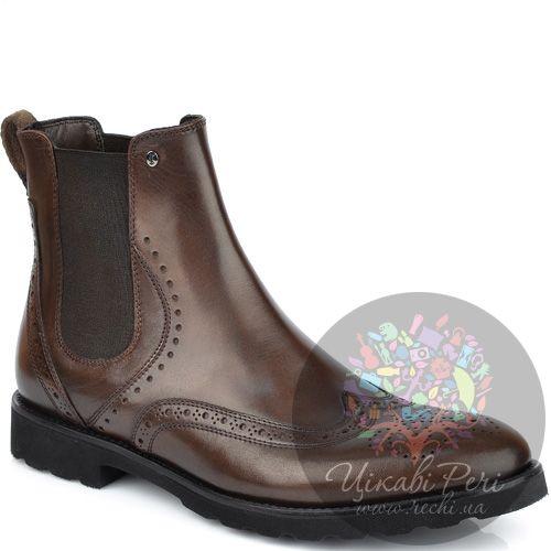 Ботинки Roberto Serpentini высокие из коричневой кожи с перфорацией, фото