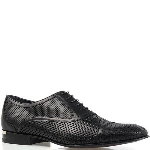 Мужские туфли Richmond из кожи черного цвета перфорированные, фото