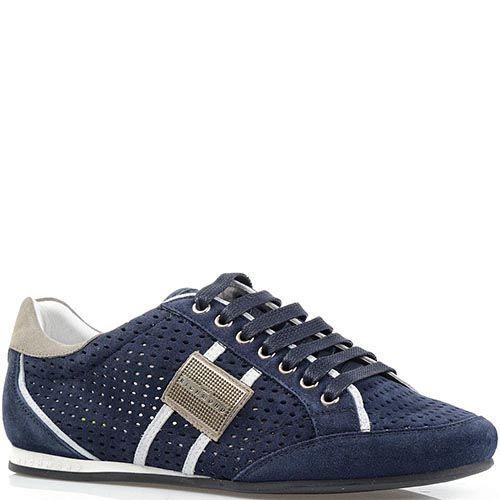 Кроссовки Richmond из натуральной замши синего цвета с перфорацией, фото
