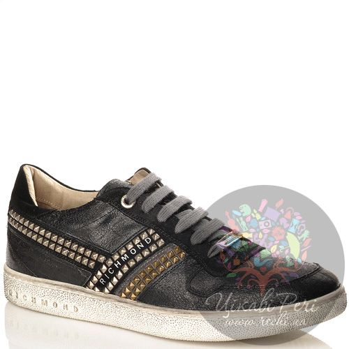 Кеды Richmond черные замшево-кожаные с декором-шипами, фото
