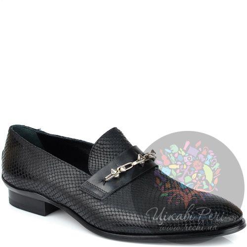 Туфли-лоферы Richmond черные с роскошной фактурой кожи змеи, фото