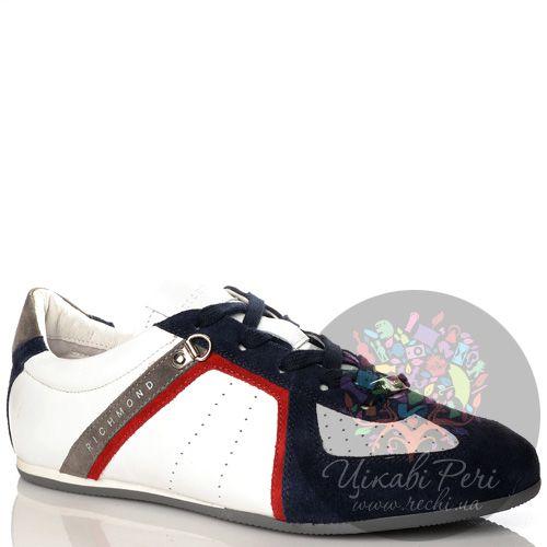 Кеды Richmond из белой кожи и темно-синей замши с серо-красным декором, фото