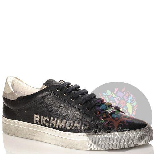 Кеды Richmond кожаные черные с замшевой серой отделкой сзади, фото