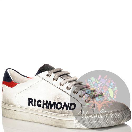 Кеды Richmond кожаные белые со стильными серыми затертостями, фото