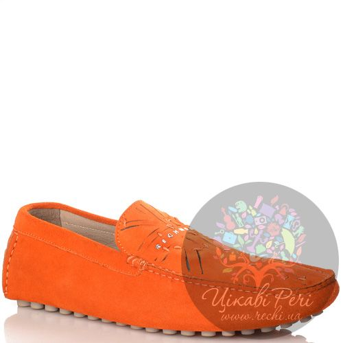 Мокасины Richmond оранжевые замшевые шипованные, фото