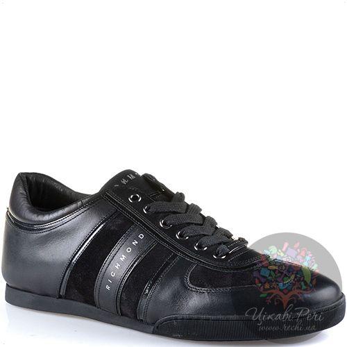 Кеды Richmond черные кожаные с замшевой и лаковой отделкой, фото
