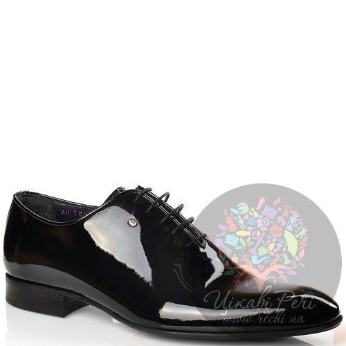Туфли Roberto Serpentini кожаные лаковые черные на шнуровке, фото