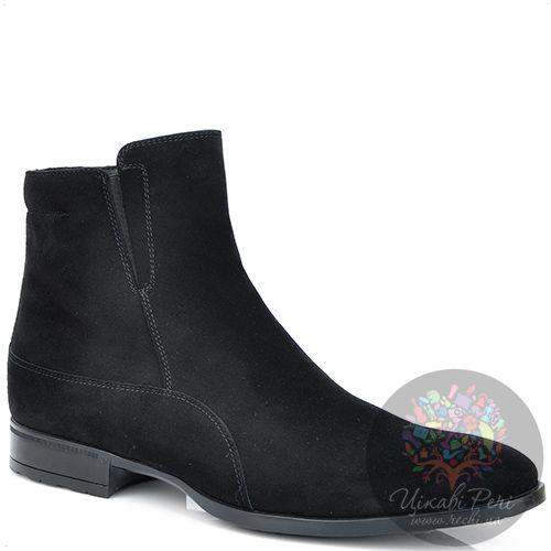 Ботинки Roberto Serpentini черные замшевые с натуральным мехом, фото