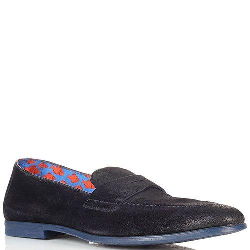 Замшевые туфли-лоферы Doucal's синего цвета с эффектом потертости, фото