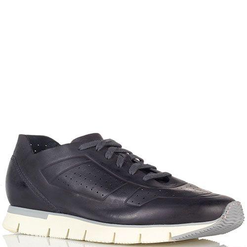 Кожаные кроссовки Santoni на белой подошве, фото