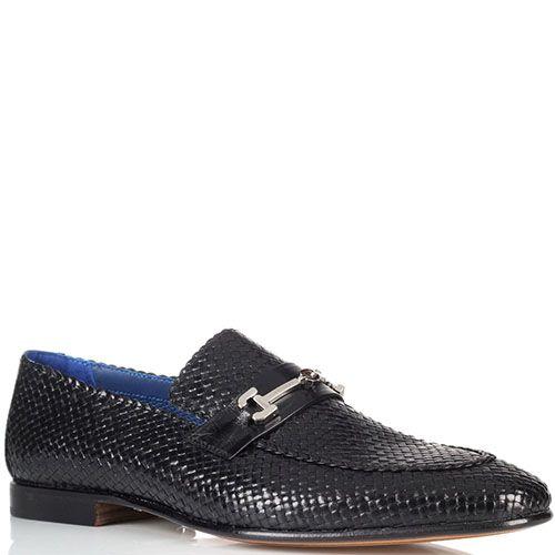 Кожаные плетеные туфли Moreschi с металлическим декором, фото