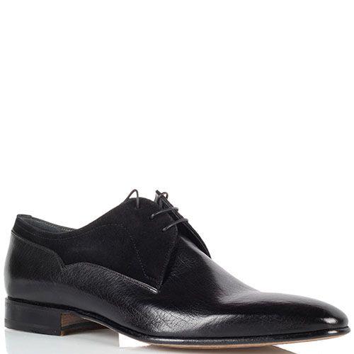 Мужские туфли Moreschi из натуральной кожи и замши черного цвета, фото