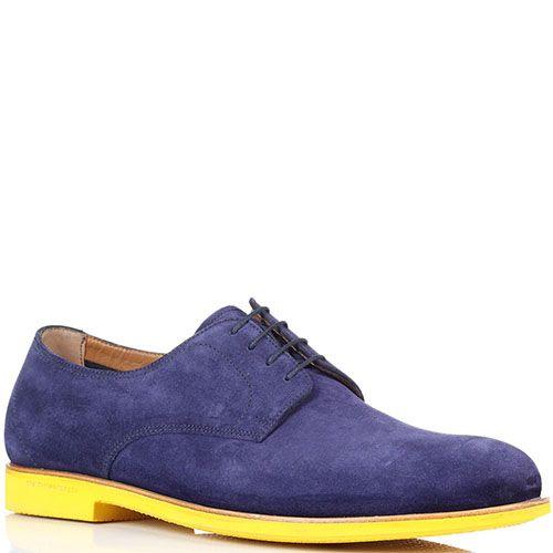 Замшевые синие туфли Fratelli Rossetti на ярко-желтой подошве, фото