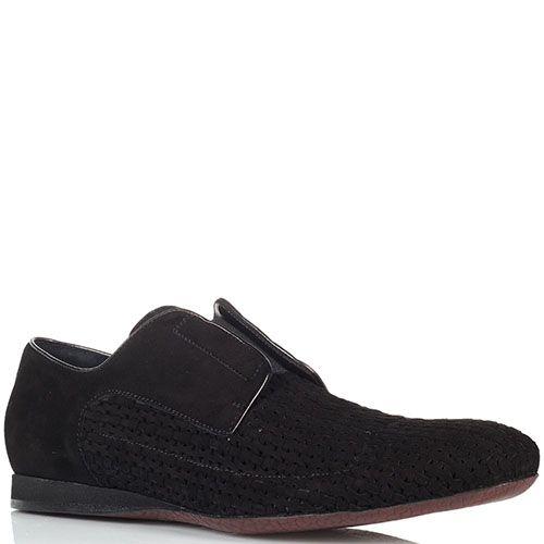 Черные замшевые туфли-броги Cesare Paciotti с перфорированными вставками, фото