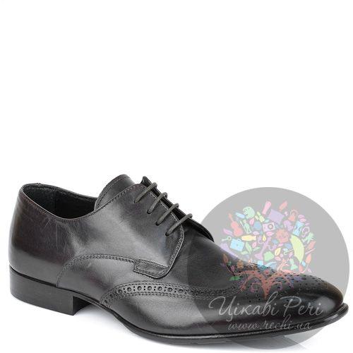 Туфли-дерби Roberto Serpentini черные кожаные с перфорацией, фото