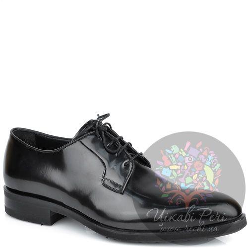 Туфли-дерби Roberto Serpentini из полированной черной кожи, фото