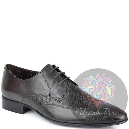 Туфли-дерби Roberto Serpentini из коричневой гладкой и зернистой кожи, фото