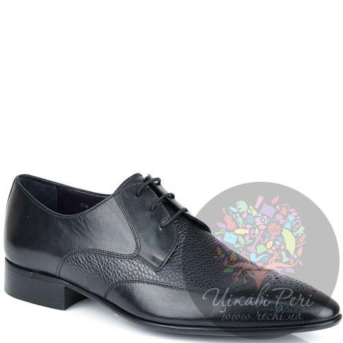 Туфли-дерби Roberto Serpentini из черной гладкой и зернистой кожи, фото
