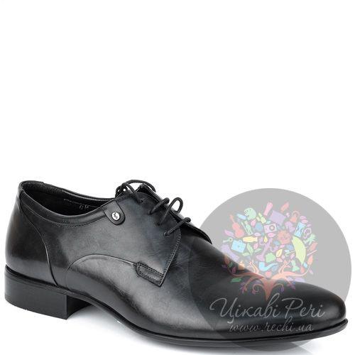 Туфли-дерби Roberto Serpentini из черной кожи классические, фото
