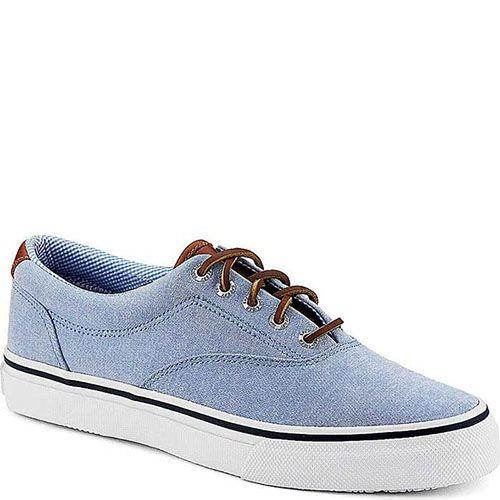 Туфли Sperry мужские спортивные голубого цвета с кожаными шнурками, фото