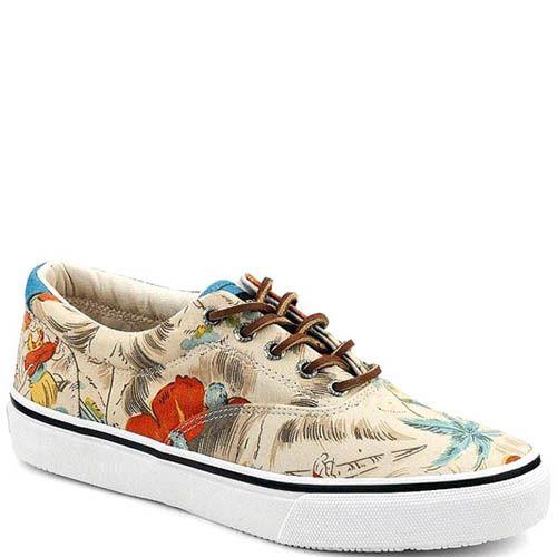 Туфли Sperry мужские бежевые с цветочным принтом, фото