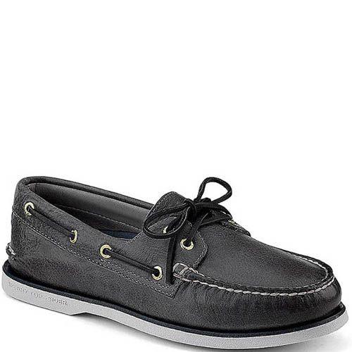 Топсайдеры Sperry мужские черного цвета с черными шнурками, фото