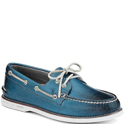 Топсайдеры Sperry мужские синего цвета с белыми шнурками, фото