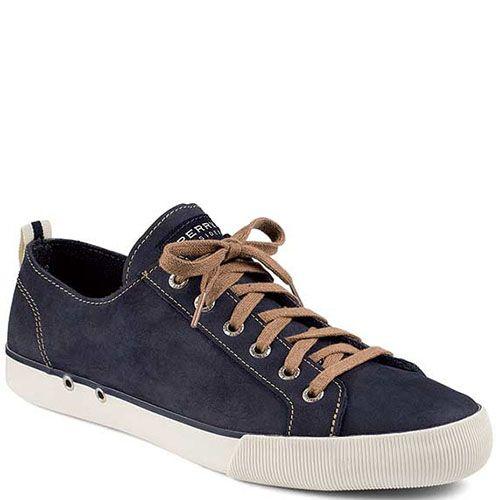 Кеды Sperry мужские синего цвета с коричневыми шнурками, фото