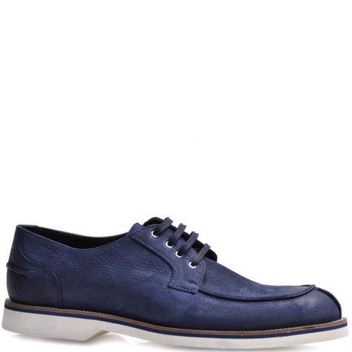 Туфли Prego мужские из нубука синего цвета с белой подошвой, фото