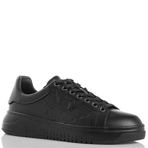 Черные кожаные кеды на толстой подошве Emporio Armani с брендовым  тиснением, фото ecef5339364