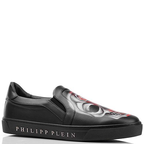 Слипоны Philipp Plein черного цвета с изображением черепов, фото