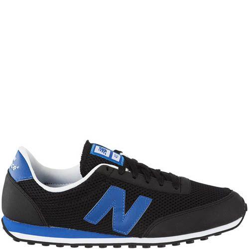 Кроссовки New Balance U410M мужские черного цвета с синими вставками, фото
