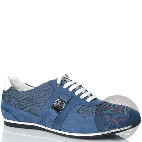 Кеды Versace Collection замшевые синие с фактурными серо-голубыми вставками, фото