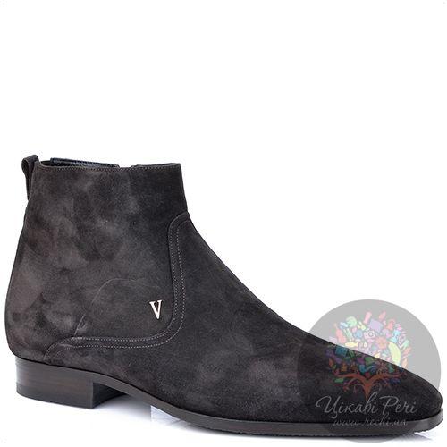 Ботинки Valentino замшевые темно-коричневые с натуральным мехом, фото