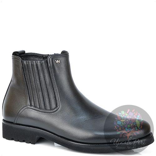 Ботинки Valerio Neri зимние черные кожаные на толстой подошве, фото