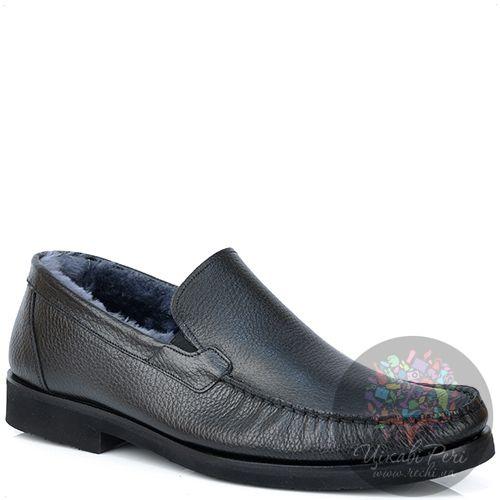Туфли Valerio Neri зимние кожаные черные с мехом на подошве-микропора, фото