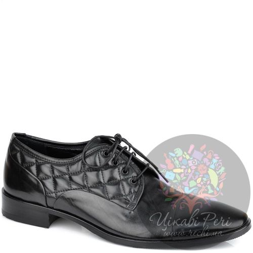 Туфли-дерби Valerio Neri из черной кожи со стеганым верхом у шнуровки, фото