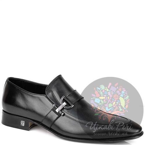 Туфли-слиперы Versace Collection закрытые черные кожаные с ремешком, фото