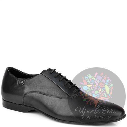 Оксфорды Versace Collection из черной кожи с перфорацией на носке, фото