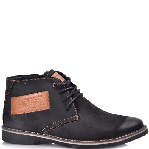 Ботинки зимние Lucky Choice из черного нубука с кожаным лейблом, фото