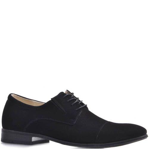 Туфли дерби Prego черного цвета из натуральной замши на шнуровке, фото