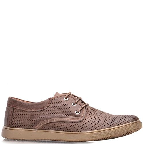 Туфли Prego из перфорированной натуральной кожи коричневого цвета, фото