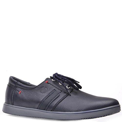 Туфли Prego из натуральной кожи синего цвета с серой подошвой, фото