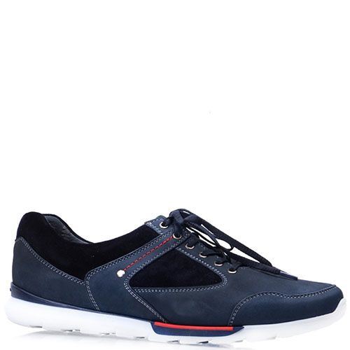 Кроссовки Prego из натурального синего нубука с черными вставками, фото